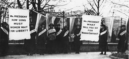 Members of the National Women's Party picket the White House in 1917.