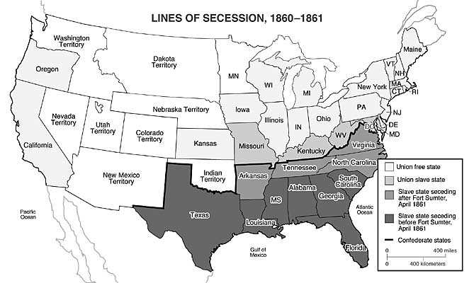Oregon City Schools US History Beginnings Of The Civil War - Secession map of us 1860