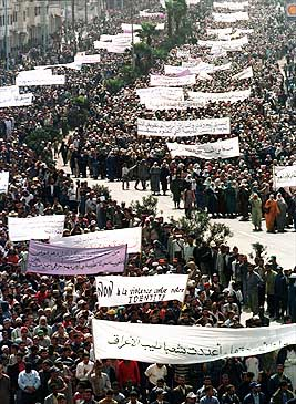 Moroccan Men and Women Protest Plans to Reduce Religious Strictures on Women, 2000
