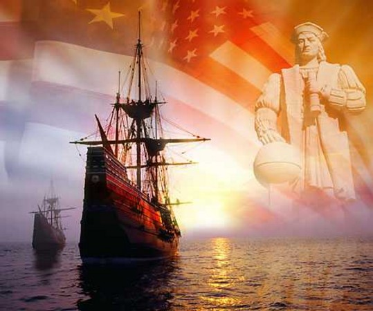 A computer generated image depicting the discovery of America by Christopher Columbus.