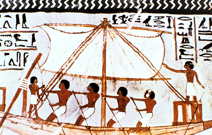 An Egyptian wall painting of a boat on the Nile River. Egyptians sailed to other lands to trade goods.