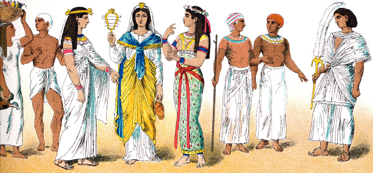 Ancient Egyptians in typical clothing.