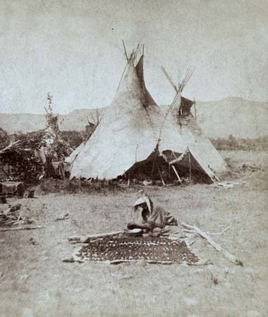 A photograph taken in about 1871 shows a group of Nez Percé in Montana.