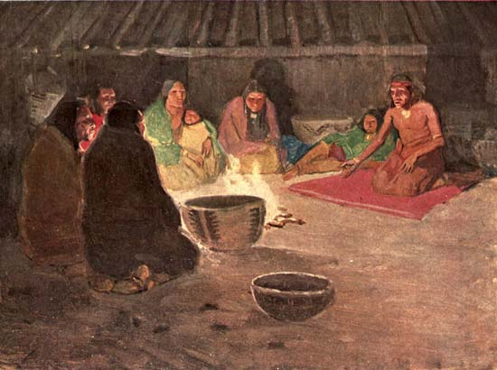 An illustration shows a group of Miwok gathered around a fire to share stories. It comes from the painting Recital of the Ancient Myths in the Roundhouse at Night by E.W. Deming.