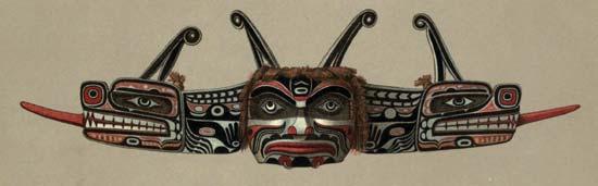 A Kwakiutl mask represents a double-headed serpent.