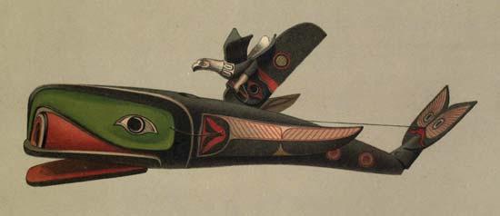 A Kwakiutl mask represents a whale and a thunderbird.