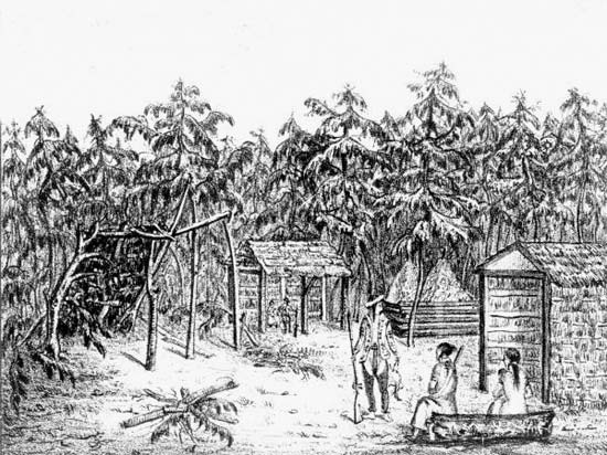 An illustration shows a Creek village on a river in northern Florida.