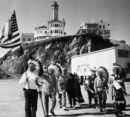 In 1964 a group of Native Americans claimed that Alcatraz Island, part of the U.S. state of California, was rightfully theirs. Native Americans took over the island again during 1969–71.