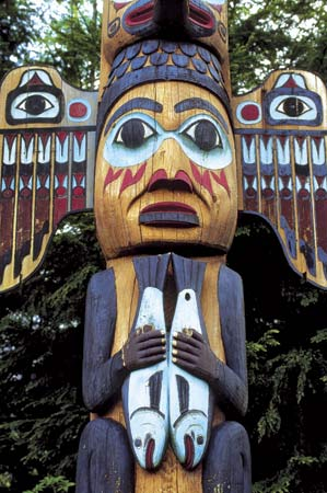 The Tlingit carved totem poles with figures from their stories and legends.