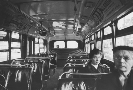 A nearly empty bus during the Montgomery bus boycott.