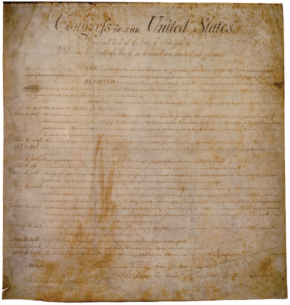 An original handwritten copy of the document that became known as the Bill of Rights lists twelve amendments, ten of which were ratified in 1791.