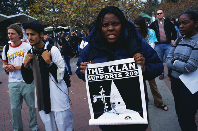 Rally against Proposition 209, University of California at Berkeley, 1996. Approved by California voters in November 1996, Proposition 209 prohibited the states public institutions from using affirmative action programs. In the