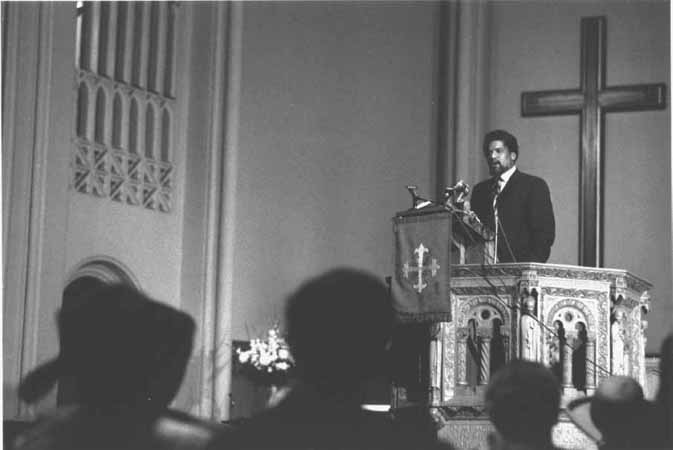 Civil Rights Activist James Forman, Riverside Church, New York City, May 1969. Forman interrupts a church service at New Yorks Riverside Church to read his Black Manifesto and demand that white