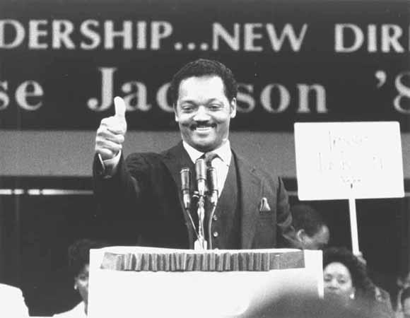 Jesse Jackson, Raleigh Civic Center, Raleigh, NC, 1987. Jackson gives a speech announcing his candidacy for president. Jackson proved to be a serious candidate during his campaign for the 1988 Democratic presidential nomination.