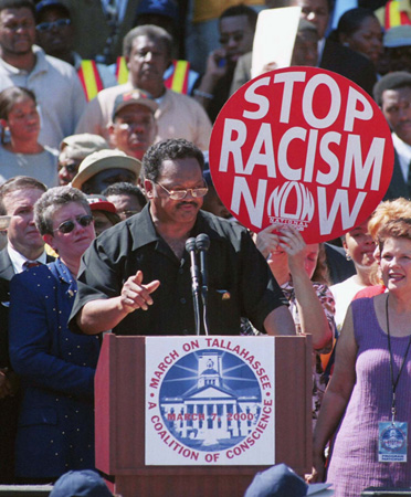 The Reverend Jesse Jackson, March on Tallahassee, March 7, 2000. Jackson speaks at a rally culminating from a march held to protest Florida governor Jeb Bushs One Florida plan to eliminate