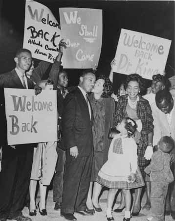 Martin Luther King Jr. with his Family, October 27, 1960. The King family celebrates the release of Dr. King from Reidsville State Prison in Georgia, after he had been arrested and jailed for participating in a student-led lunch-counter sit-in