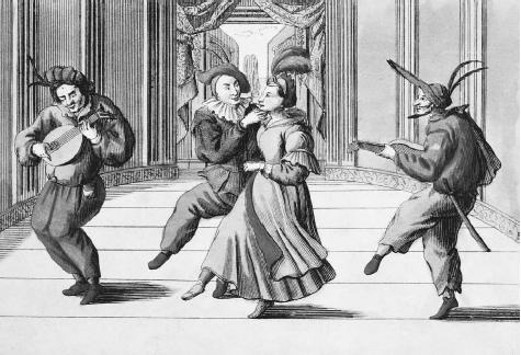 Eighteenth-century engraving of Commedia dellArte performers wearing traditional costumes. ©