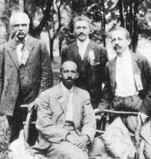 W. E. B. Du Bois is shown seated with other members of the Niagara Movement, which marked the beginnings of the civil rights movement in the early 1900s.
