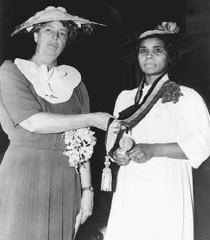 First lady Eleanor Roosevelt (left) earned the respect of many African Americans after she resigned from the Daughters of the American Revolution (DAR) organization, which had canceled the performance of singer Marian Anderson (right) at Consti