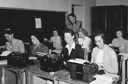 After World War II, many women were denied good jobs in business or government service because such occupations were not considered appropriate for females. As shown here, many women became typists, like these at the Lawrence Livermore National
