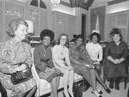 The 1970s saw an influx of women elected or re-elected to the U.S. Congress, including (l-r): Martha Griffiths, Shirley Chisholm, Elizabeth Holtzman, Barbara Jordan, Yvonne Brathwaite Burke, and Bella Abzug.