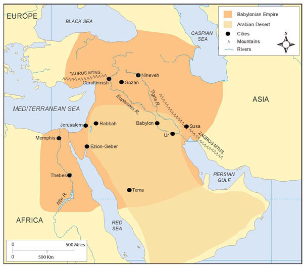 The Babylonian Empire spanned most of southwest Asia, controlling lands