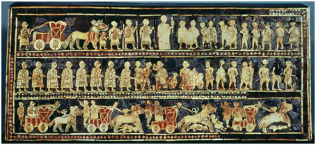The Royal Standard of Ur, dating to about 2750 B.C.E., is a mosaic depicting aspects of society in ancient Sumer.