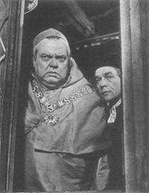 Orson Welles as Cardinal Wolsey and Paul Scofield as Thomas More in the film adaptation