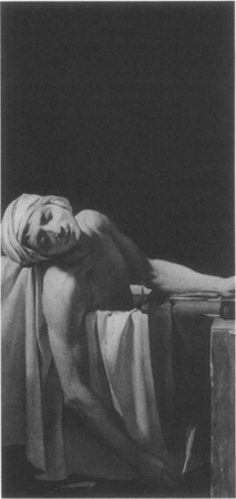 Jacques-Louis Davids famous 1793 painting depicting the assassinated Jean-Paul Marat in his tub, pen in hand