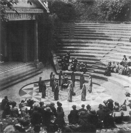 Iphigenia in Taurus is staged at the Greek Theatre at Bradfield College in Berkshire. The theater is modeled after the traditional structure of Athenian theaters