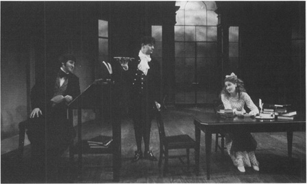 Scene from the 1800s setting in Arcadia: Septimus and Thomasina are joined by Jellaby the butler during one of their lessons