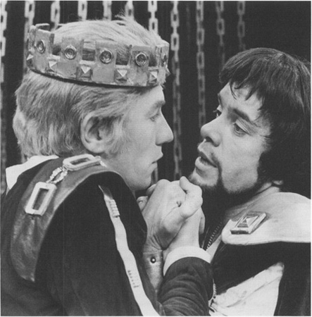 A London production of Marlowes play, depicting King Edward (Ian McKellan) with the object of his affection, Piers de Gaveston