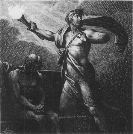 A depiction of Prometheus bringing fire down from the heavens to bestow on suffering humanity