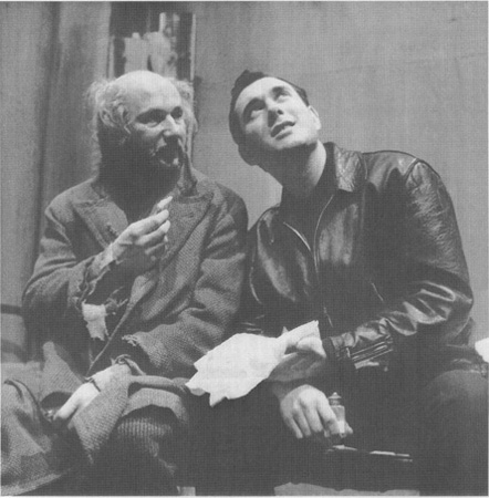 Davies (Donald Pleasance) and Mick (playwright Pinter) in a scene from The Caretaker