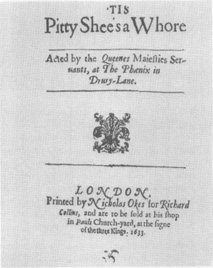 The title page from a publication of John Fords Tis Pity Shes a Whore