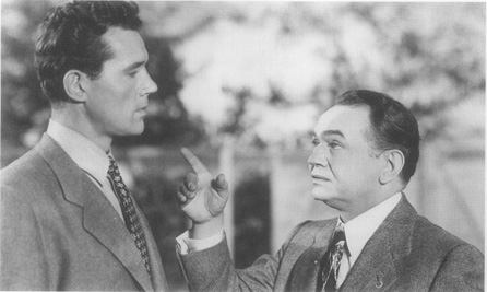Burt Lancaster as Chris and Edward G. Robinson as Joe Keller in a scene from the film adaptation