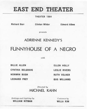 Playbill of Kennedys Funnyouse of a Negro.