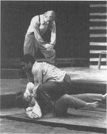 Bradley Universitys 1997production of The Kentucky Cycle, featuring Shaun O Keefe as Ezekiel Rowen, Isaiah E. Brooms as Jessie Biggs, and Stephen Clark as Zachariah Rowen.