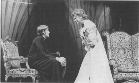 Actors David Warner and Irene Worth in a production of Tiny Alice