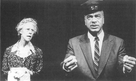 Frances Sternhagen and Earle Hyman in scene from a stage production of Driving Miss Daisy.
