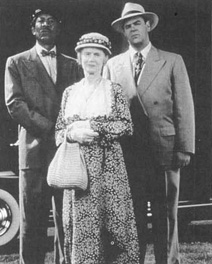 Morgan Freeman (as Hoke Colburn), Jessica Tandy (as Daisy Werthan), and Dan Aykroyd (as Boolie Werthan), starred in the 1989 film adaptation of Driving Miss Daisy.