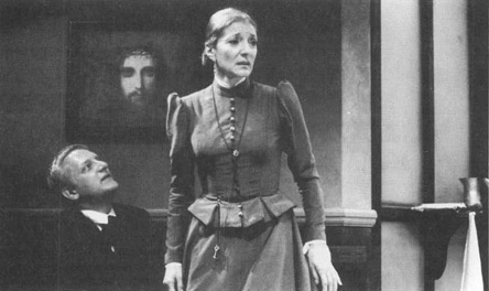 Simon Russell Beale (as Oswald Alving) pleading with Jane Lapotaire (as Mrs. Helen Alving) in a scene from the 1993 production of Ghosts, performed at Londons The Other Place Theatre