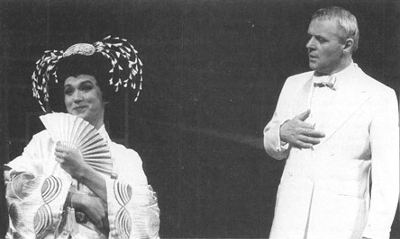 Anthony Hopkins (as Rene Gallimard) speaking to Glenn G. Goei (as Song Liling) in a scene from a 1989 stage production of M. Butterfly.