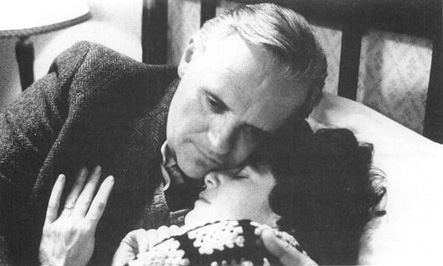 Anthony Hopkins (as C. S. Lewis) and Debra Winger (as Joy Gresham) in a scene from the 1993 film adaptation of Shadowlands.