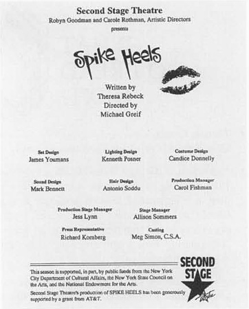 A playbill for the Second Stage Theatre production of Spike Heels.