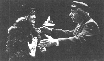 Natasha Richardson as Anna Christopherson and John Woodvine as Chris Christopherson in a scene from a theatrical production of Anna Christie.