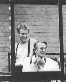 Samuel West and Denholm Elliott in a scene from a theatrical production of A Life in the Theatre.