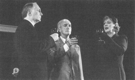 Simon Jones as Alexander MacColgie Gibbs, Clive Merrison as Sir Henry Harcourt-Reilly, and Maggie Steed as Julia Shuttlethwaite in the 1997 theatrical production of The Cocktail Party