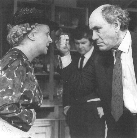 Mary Chester as Mother, Tony Doyle as Charlie, and Eamon Kelly as Da in a scene from a production of Da