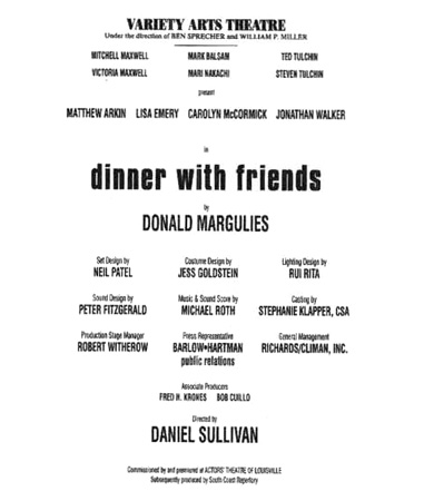 A 2000 playbill cast list of Dinner with Friends, performed at New Yorks Variety Arts Theatre